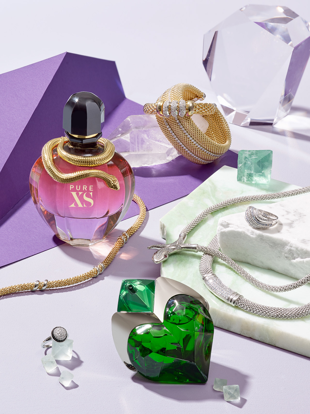 Still life with perfumes and Apart Jewellery for PANI Magazine