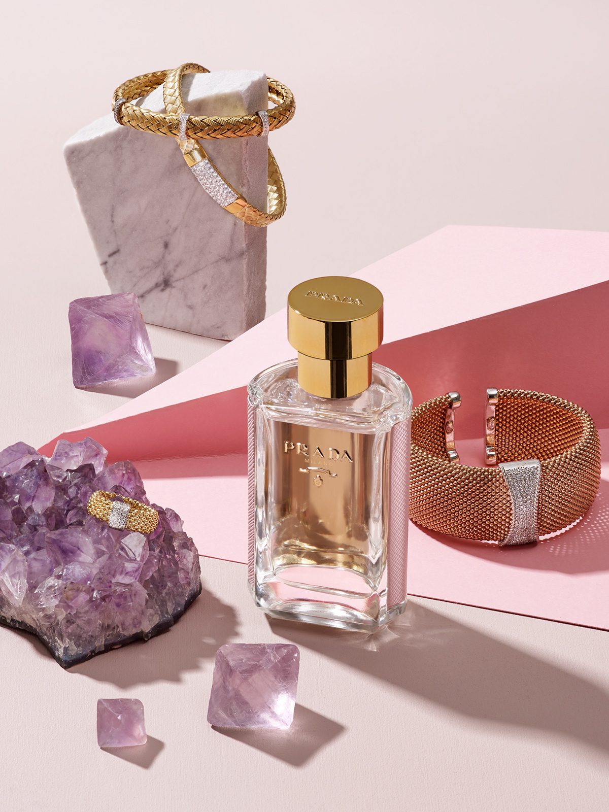 Still life with Prada perfume and Apart Jewellery for PANI Magazine