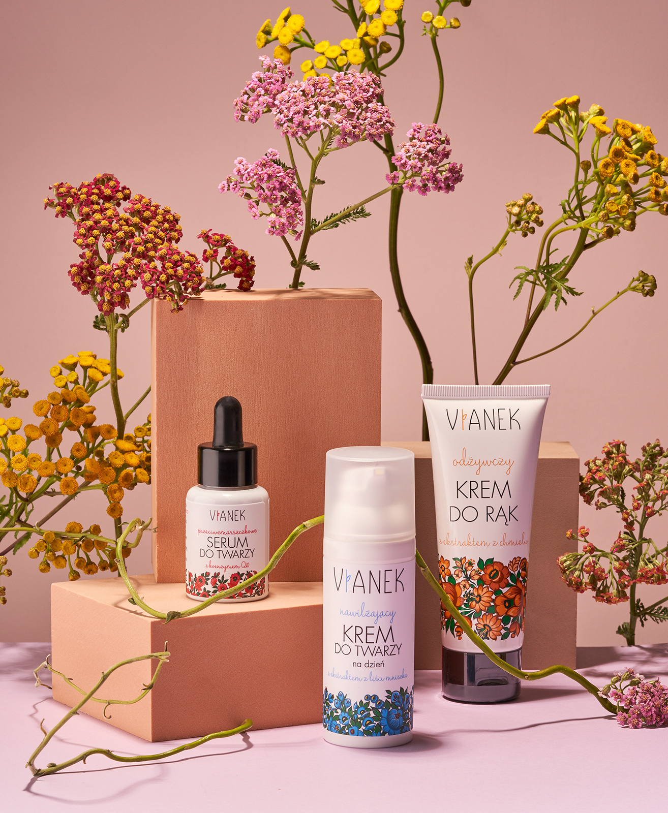 Still life for LABEL Magazine with flowers and Vianek natural cosmetics