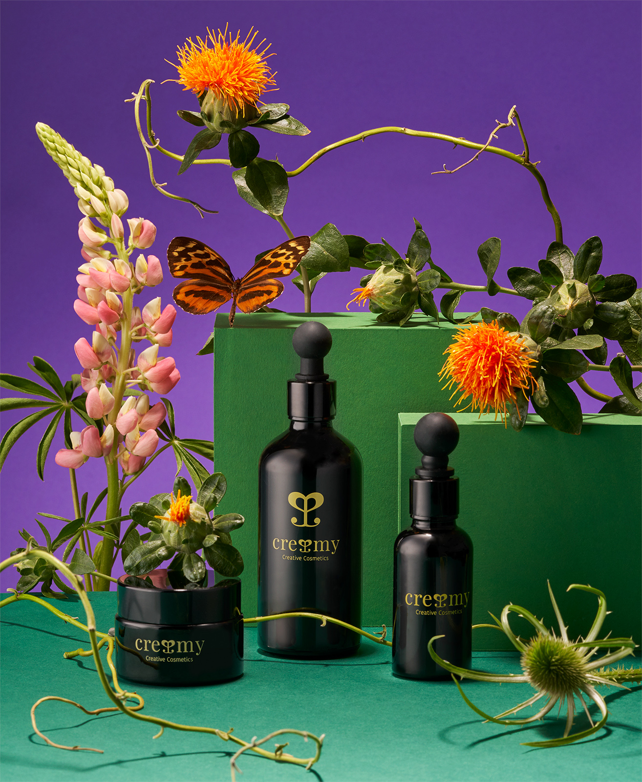 Still life for LABEL Magazine with flowers and Cremy natural cosmetics