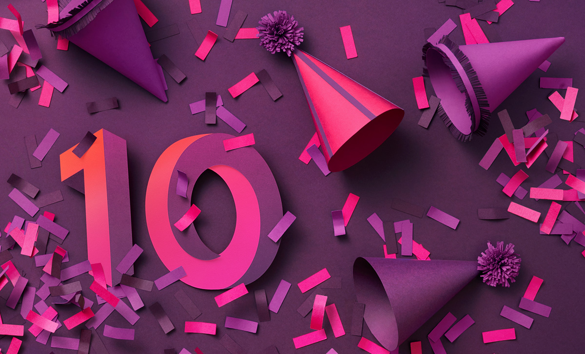 Still life photograph for Zalando's 10th anniversary Campaign with party hats