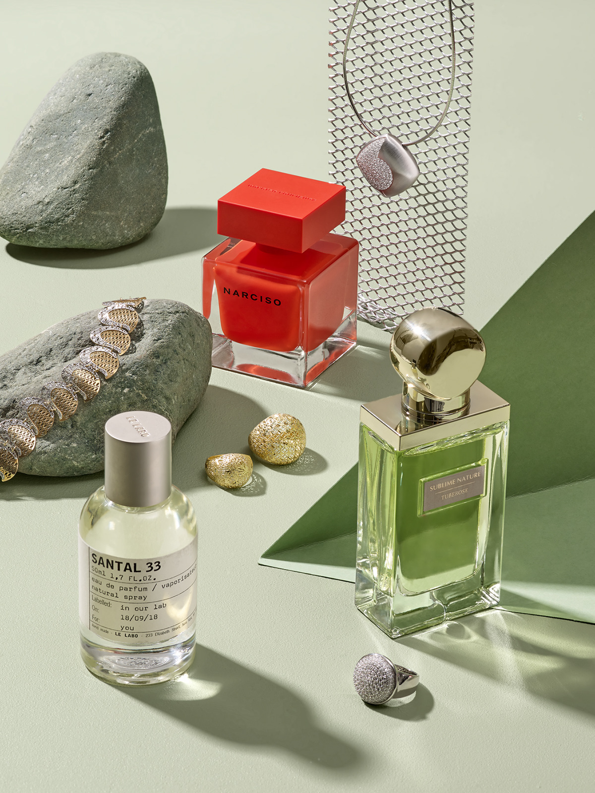 Still life with Narciso, Santal 33 perfume and Apart Jewellery for PANI Magazine