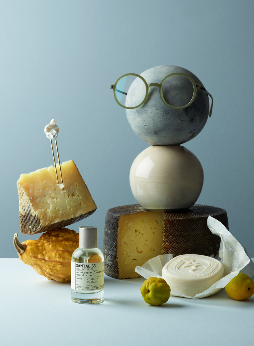 Still life image with cheese, soap, perfume, quinces for Usta Magazine