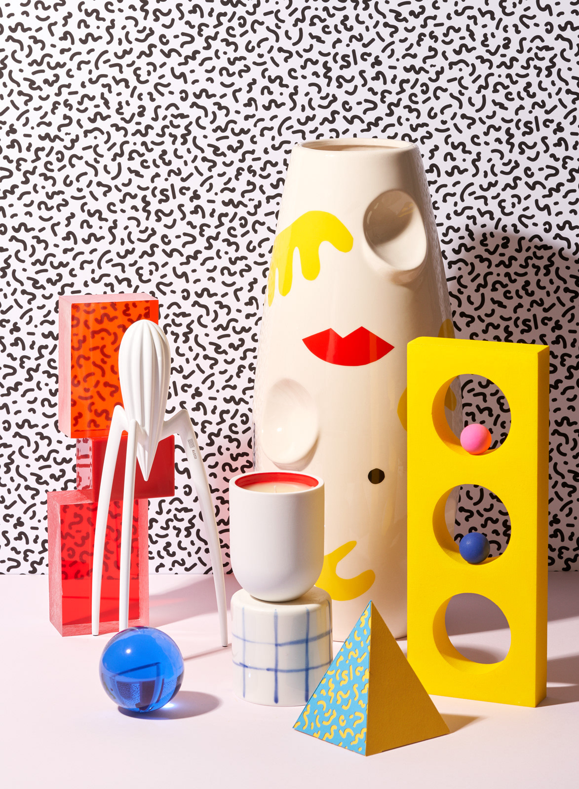 Gift guide with vase, candle, juice press by Alessi inspired by Memphis Design Movement