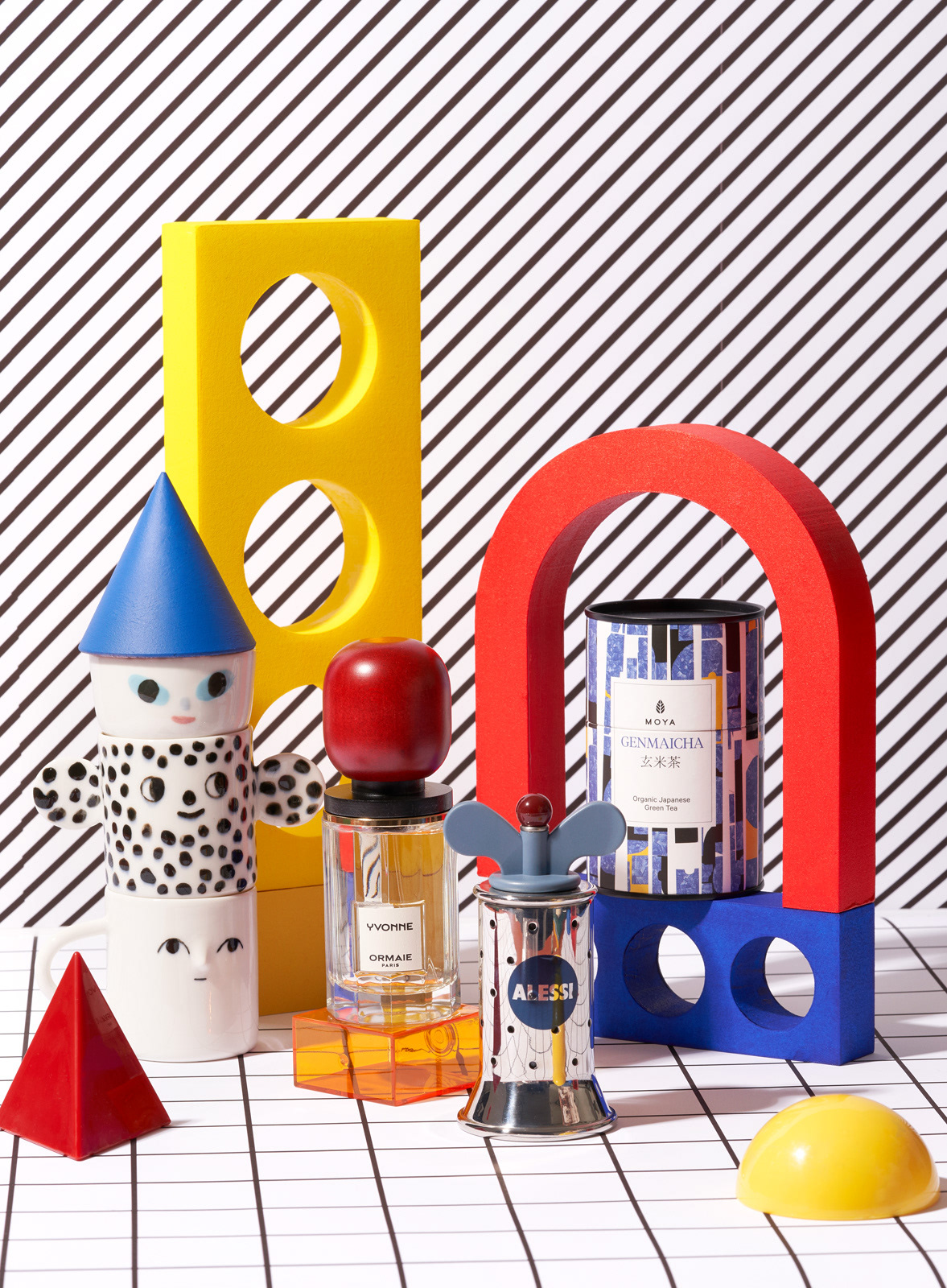 Memphis Design inspired still life gift guide with perfume, Alessi Grinder, Ceramics and tea